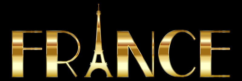 France Typography Gold With Black Background