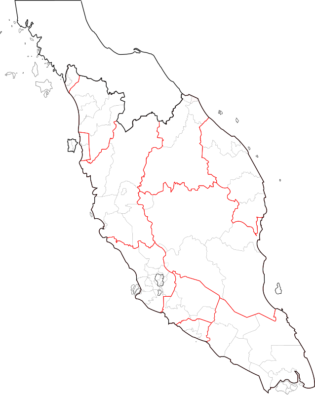 Blank map of Peninsular Malaysia (fixed and updated, with southern Thailand)