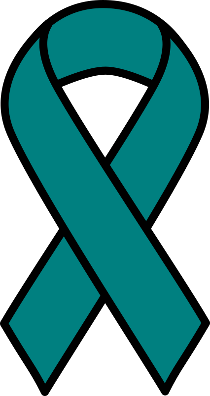 Teal Ovarian Cancer Ribbon