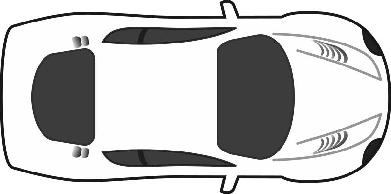 White blank racing car top view