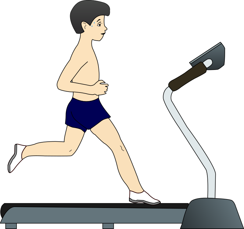 Boy running on treadmill