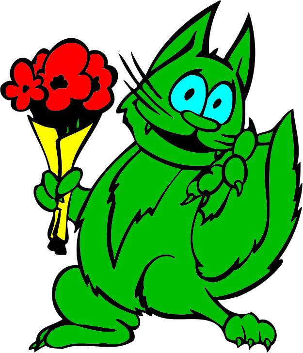 Green Cat With Flowers