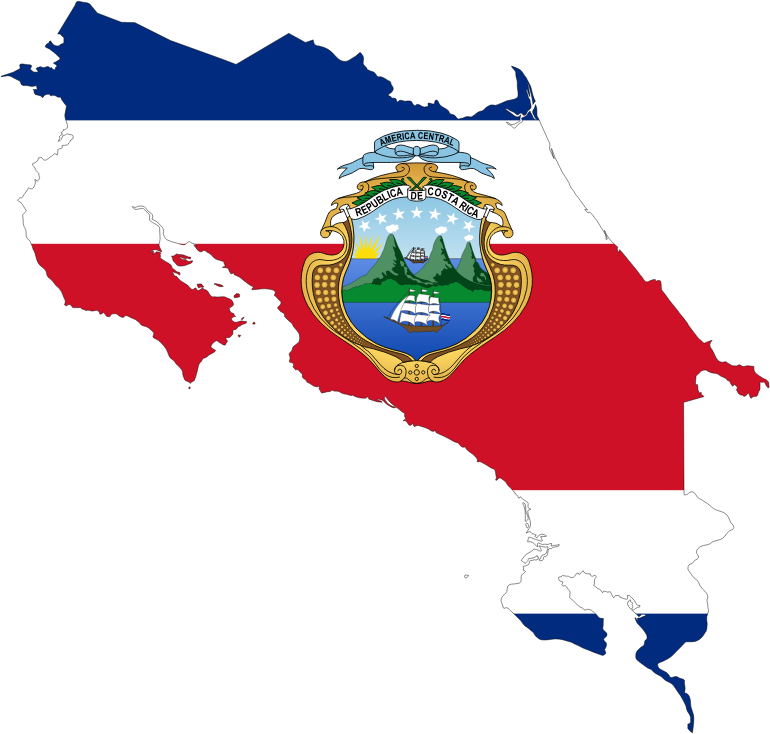 Costa Rica Map Flag