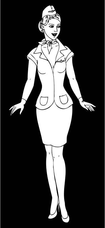 Stewardess Line Art