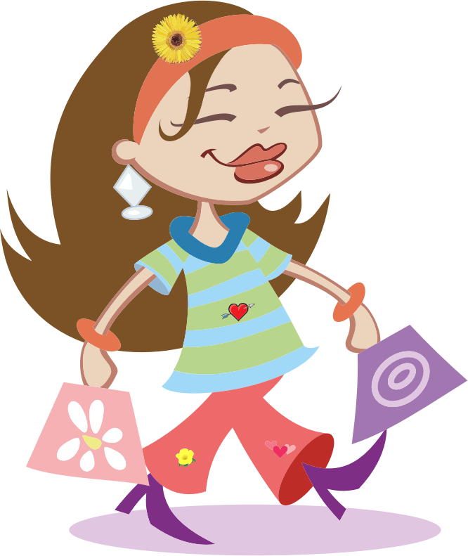 Girl Buying Ice Cream from a Vendor - Royalty Free Clipart Image