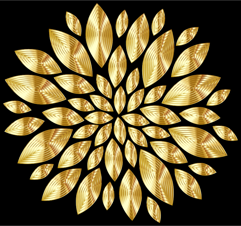 Gold Flower Petals Variation 3 With Background
