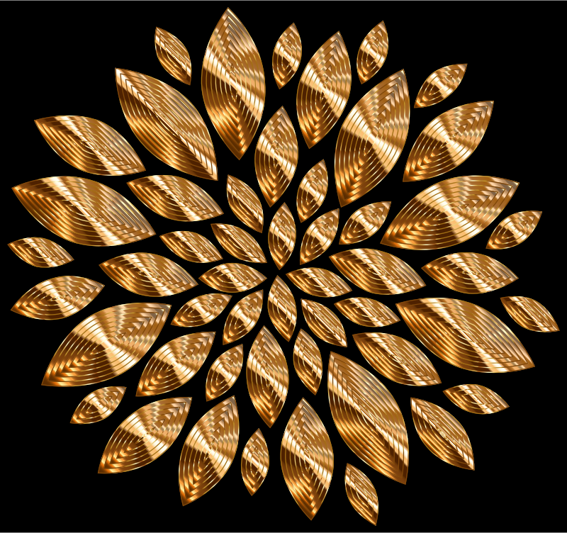 Gold Flower Petals Variation 4 With Background