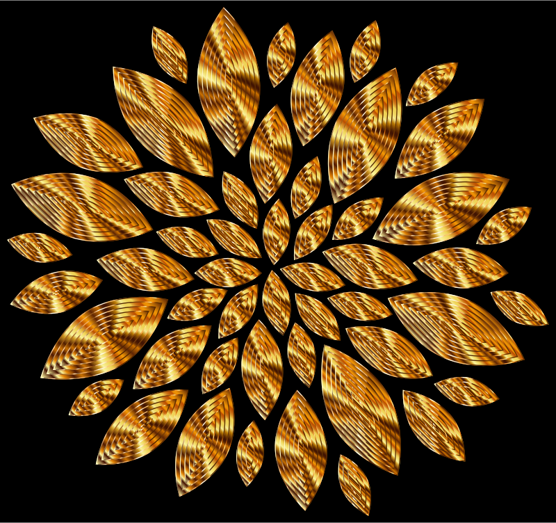 Gold Flower Petals Variation 5 With Background