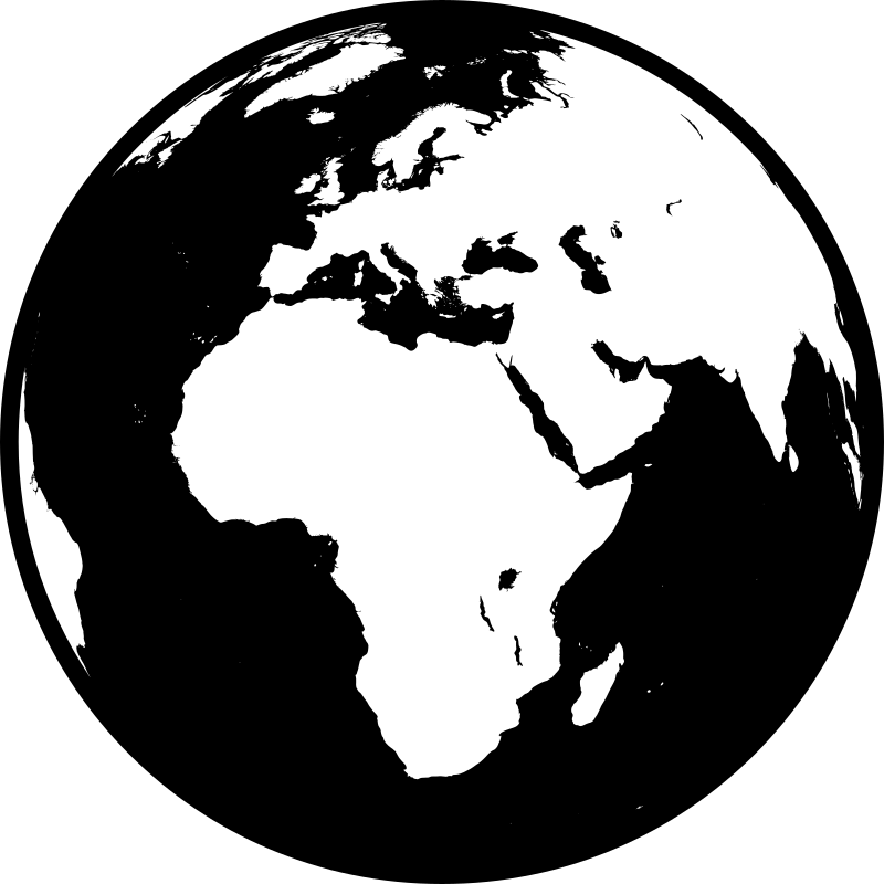 Globe showing Africa, Asia and Europe in black and white (detailed)