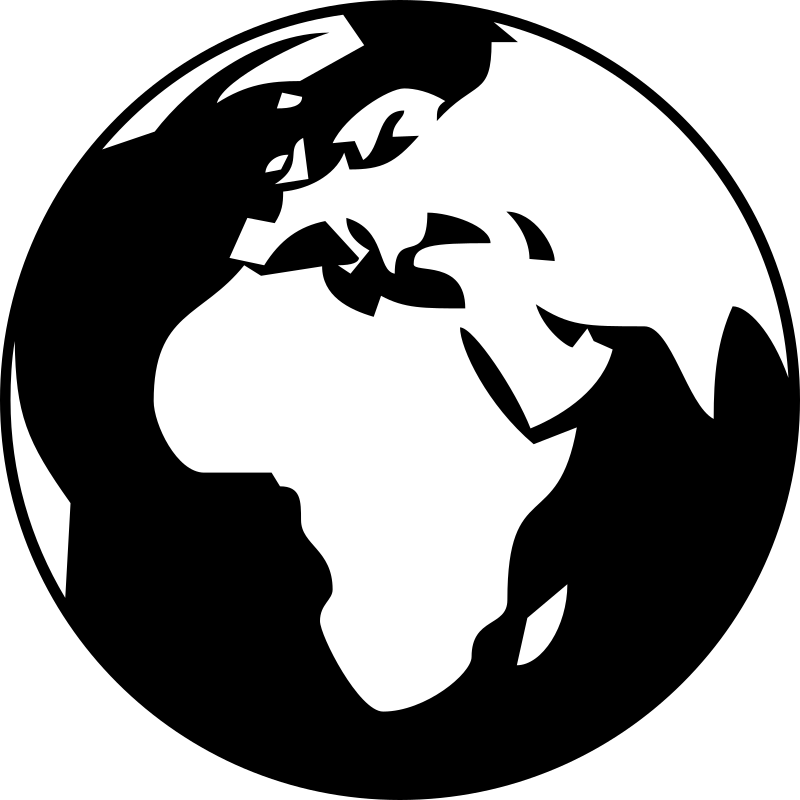 Simple globe showing Africa, Asia and Europe in black and white