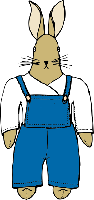 bunny in overalls front view