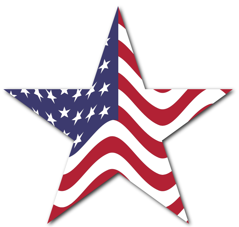 American Flag Star With Drop Shadow