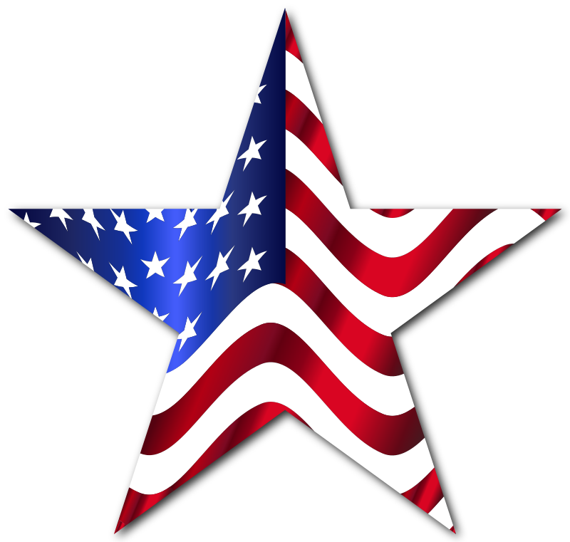 American Flag Star 2 With Drop Shadow