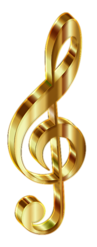 Gold 3D Clef 2 Enhanced No Background
