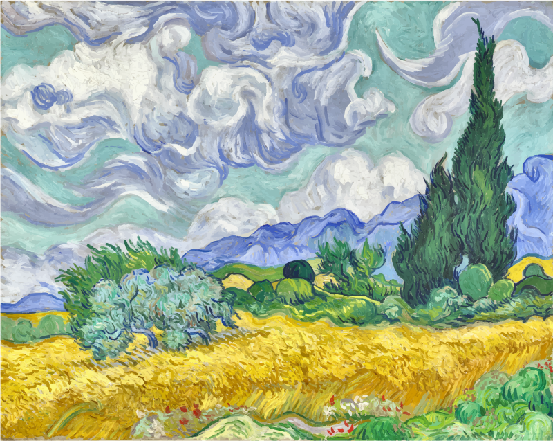 Wheat Field with Cypresses Vincent Van Gogh Contrast Enhanced