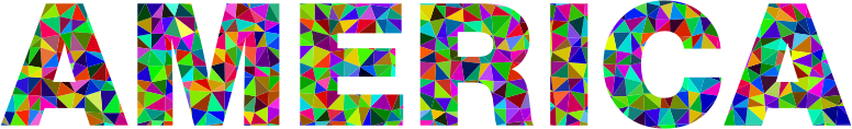 Prismatic Low Poly America Typography