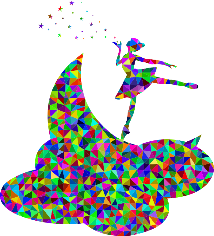 Prismatic Low Poly Ballerina On The Moon