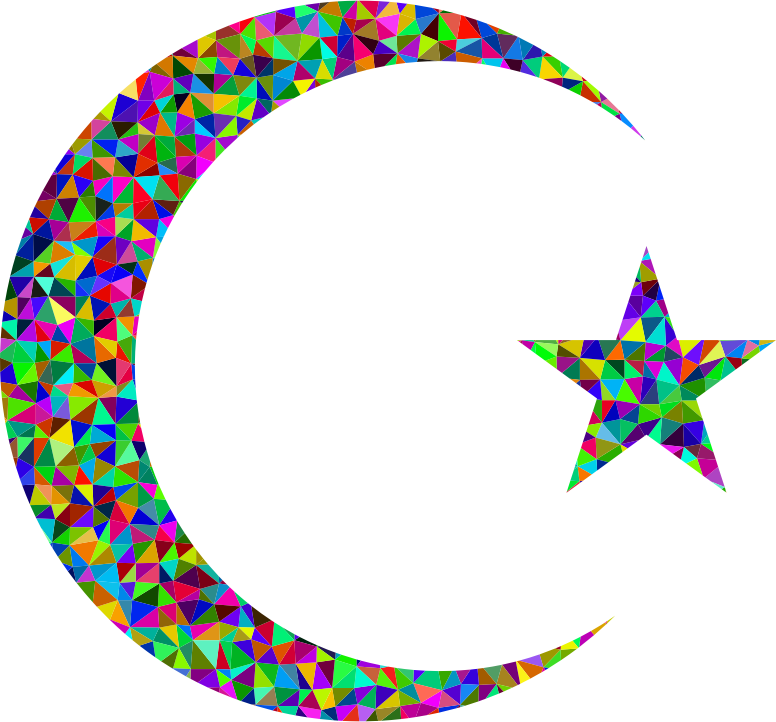 Prismatic Low Poly Crescent And Star