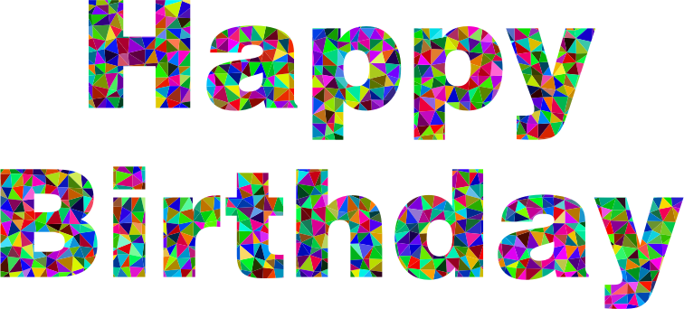 Prismatic Low Poly Happy Birthday Typography