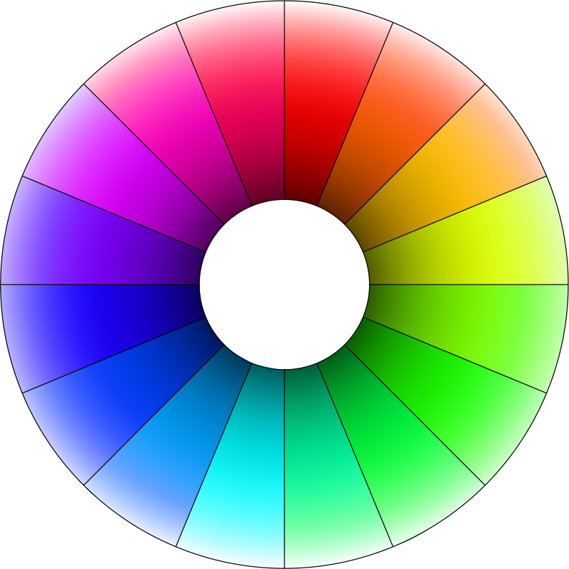 Hue color wheel with lightness gradient