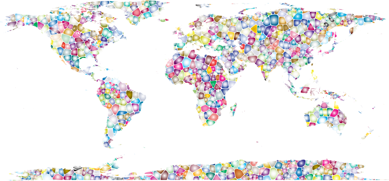 Sweet Tiled World Map No Background