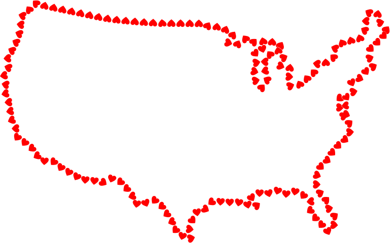 Hearts United States Map