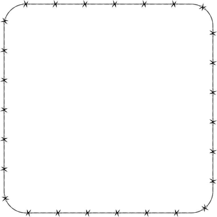 Barbed Wire Rounded Square Frame Border