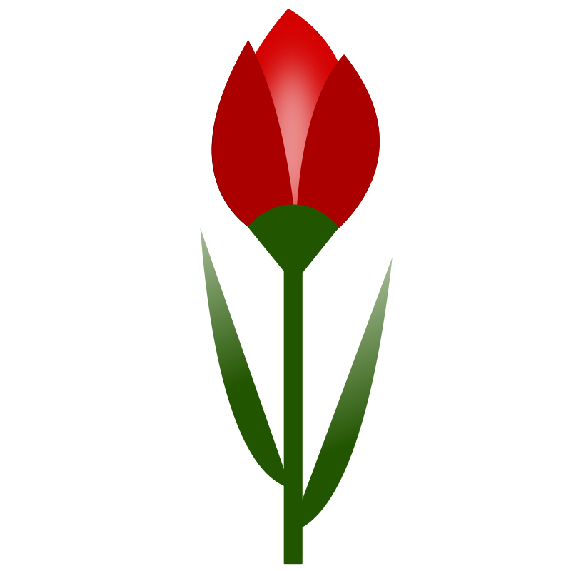 TULIP Simple Red Flower- 3-color- with slight glow