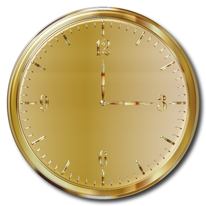 Gold Clock Enhanced With Drop Shadow
