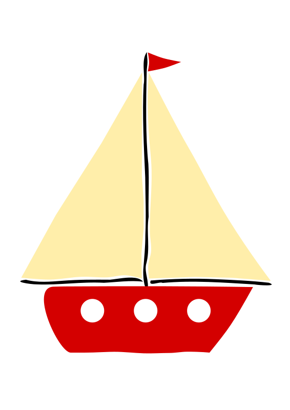 Red sail boat 1