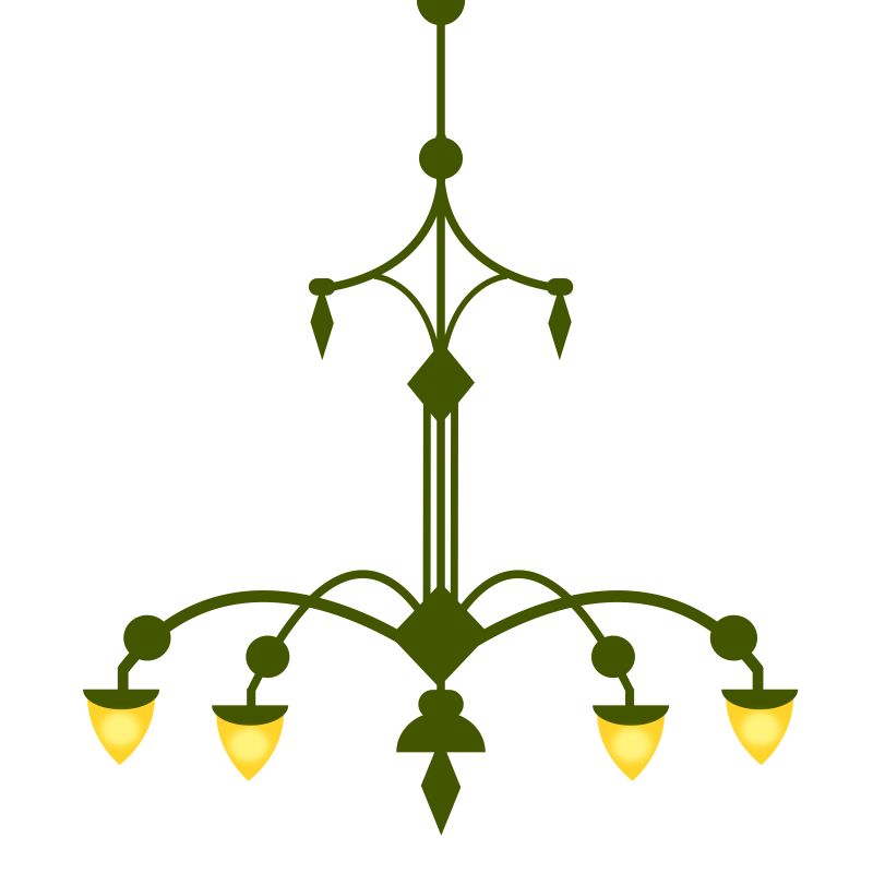 Ornate Chandelier, with 4 lamps- version 1