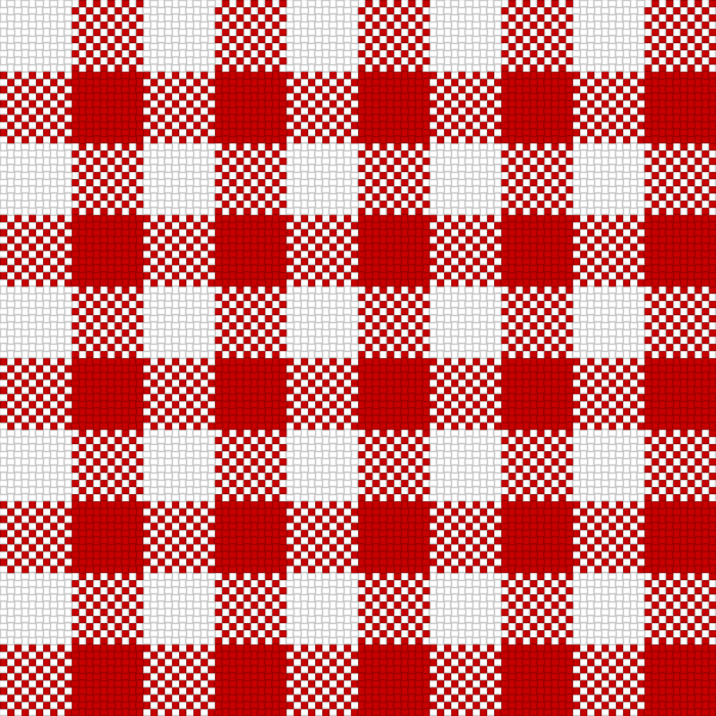 Checker Plaid Cloth Red White
