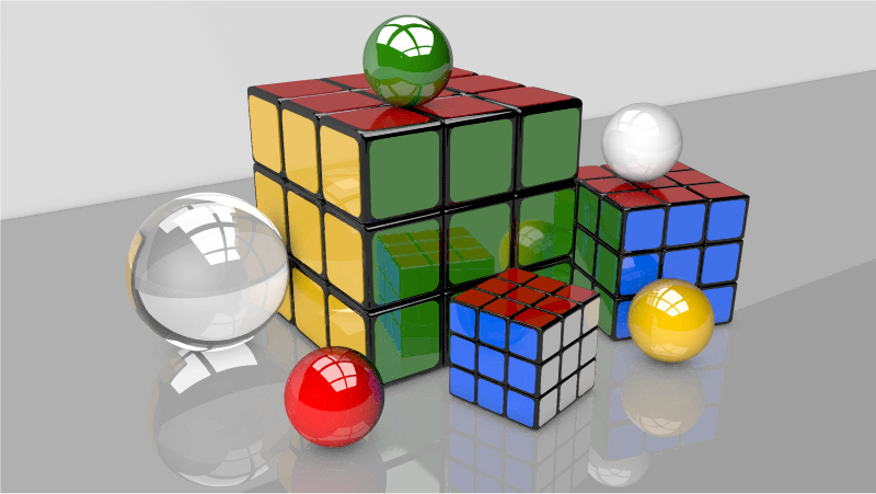 3D Rendered Puzzle Cubes And Spheres