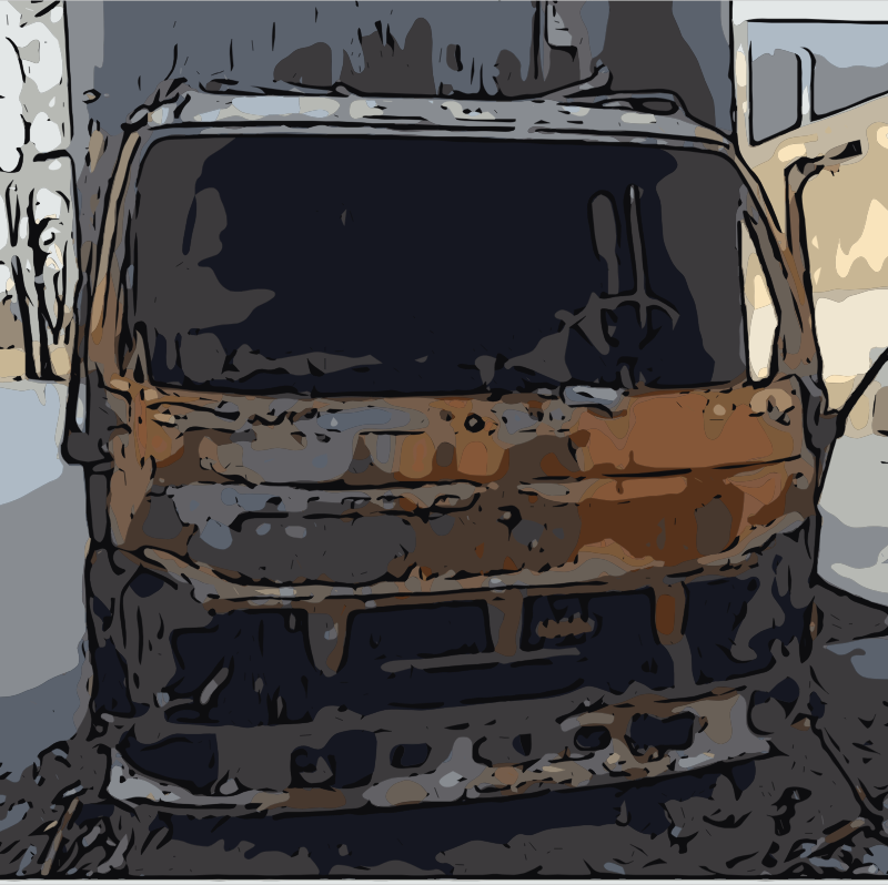 Burnt out truck