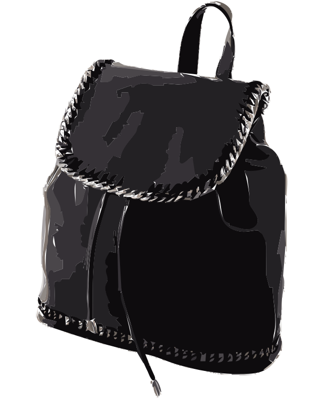 Black Leather Backpack without logo
