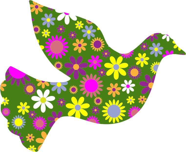 Retro Floral Peace Dove