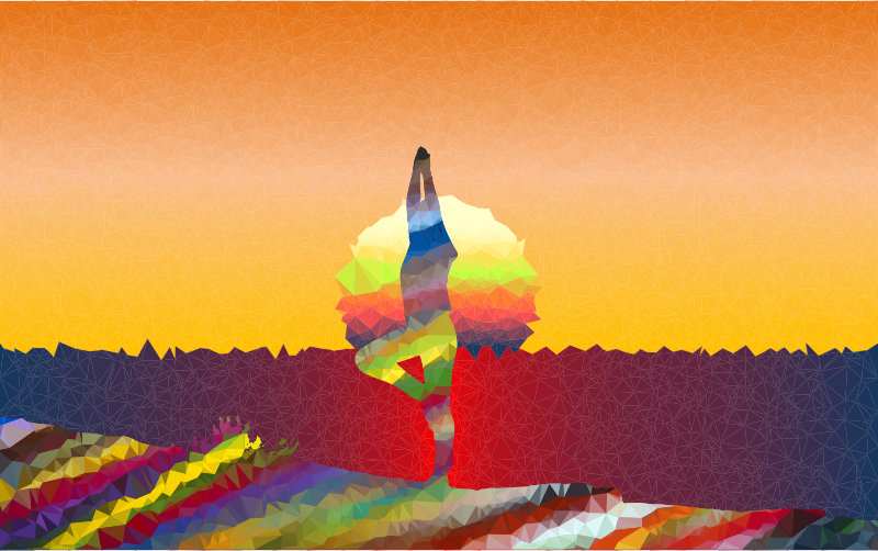 Low Poly Prismatic Streaked Female Yoga Pose Sunset