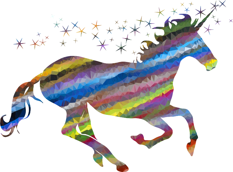 Low Poly Prismatic Streaked Magical Unicorn
