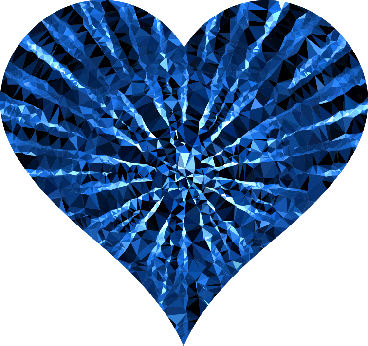 Low Poly Shattered Heart Blue