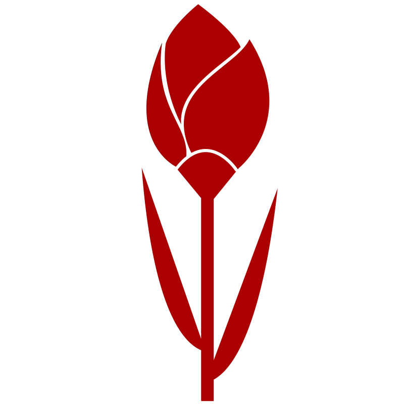 TULIP Simple Red Flower- remixed, one color.