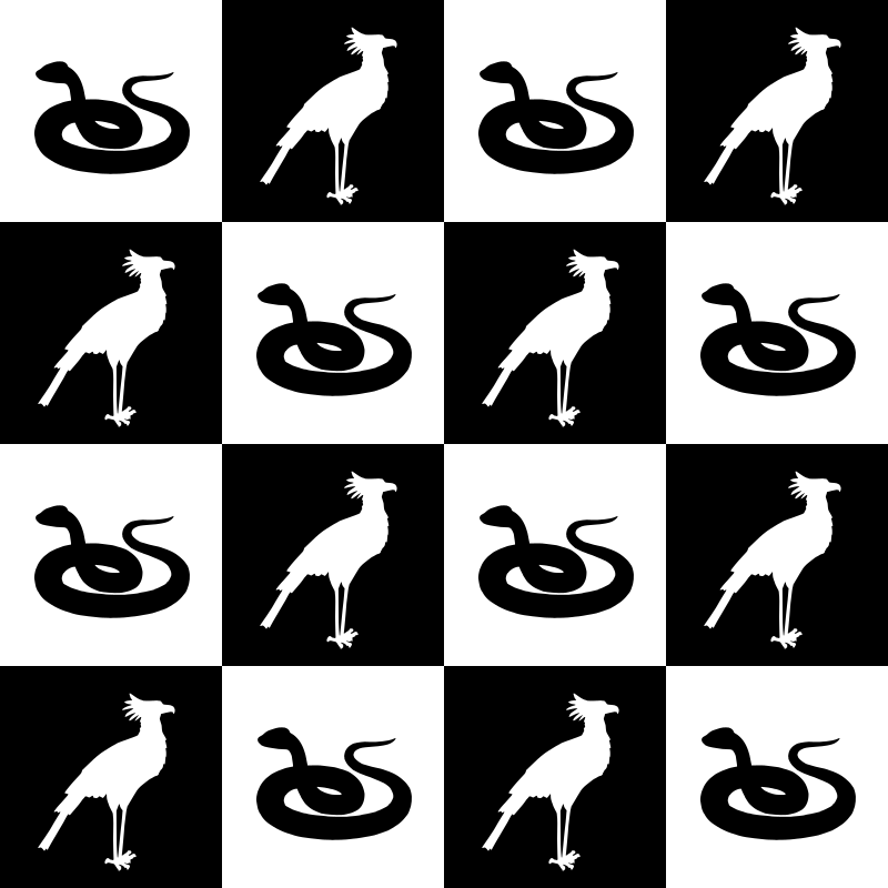 Bird and snake pattern (black and white)