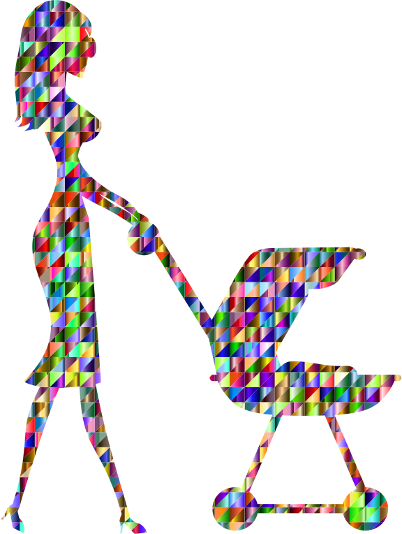 Chromatic Triangular Woman With Baby Carriage