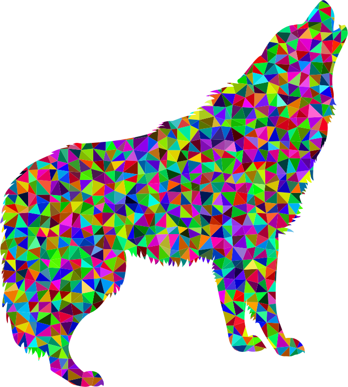 Low Poly Prismatic Howling Wolf