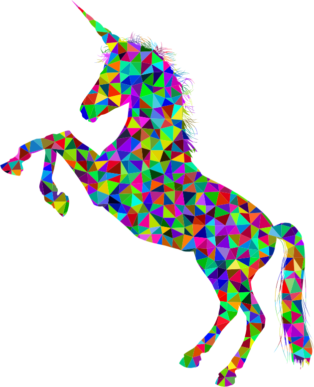 Low Poly Prismatic Unicorn Silhouette