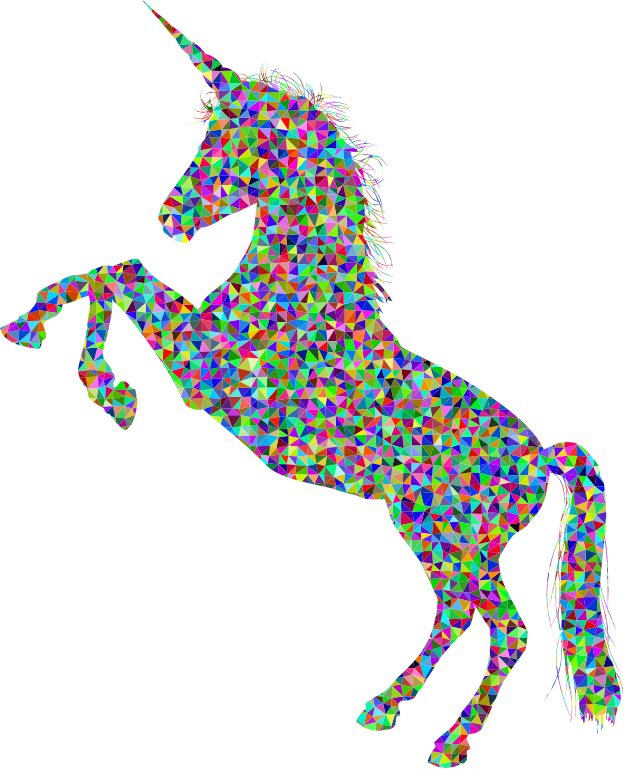 Low Poly Prismatic Unicorn Silhouette High Detail