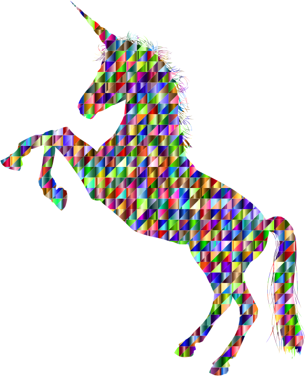 Chromatic Triangular Unicorn Silhouette