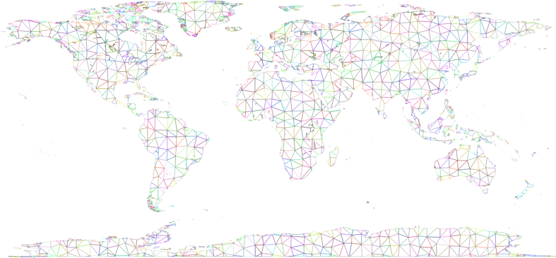 Prismatic World Map Polygonal Wireframe No Background