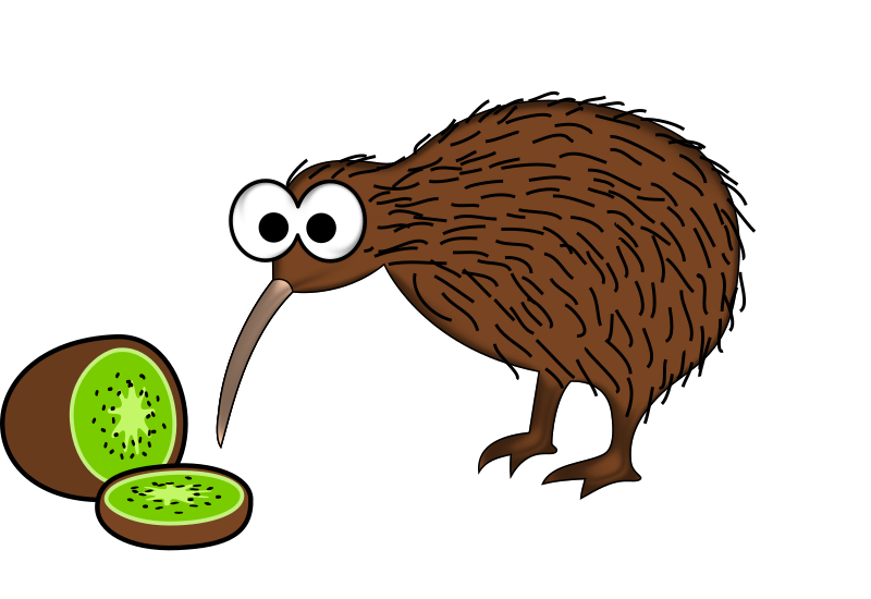 Cartoon kiwi bird with kiwi fruit
