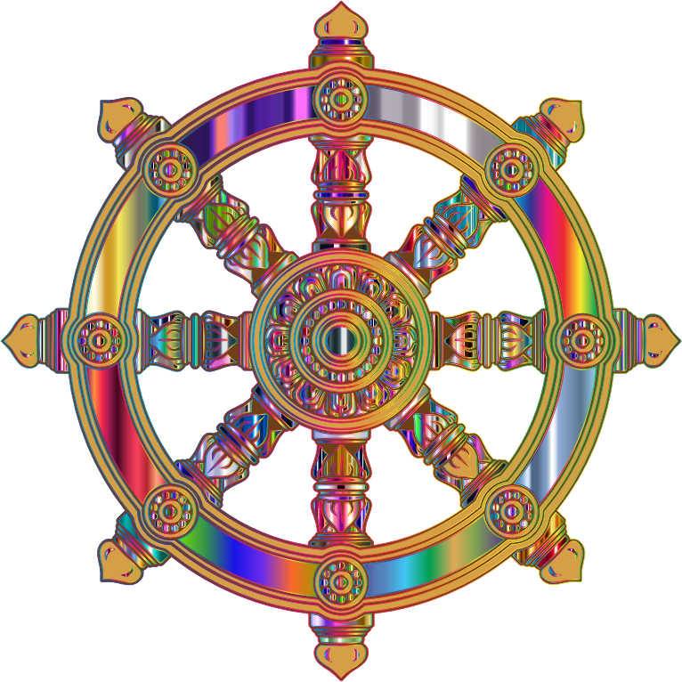 Prismatic Ornate Dharma Wheel 7 Variation 2