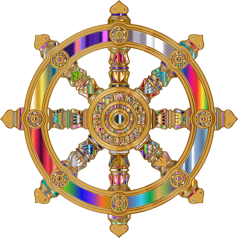 Prismatic Ornate Dharma Wheel 7 Variation 3